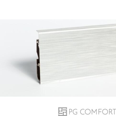 Hi-Line Prestige PVC szegélyléc kábelcsatornával 75mm - Szálcsiszolt alu - világos - 266