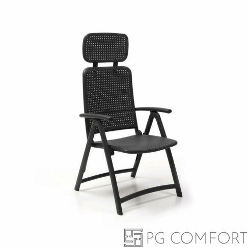 Nardi Acquamarina szék fejtámlával és karfával - Antracitszürke színben