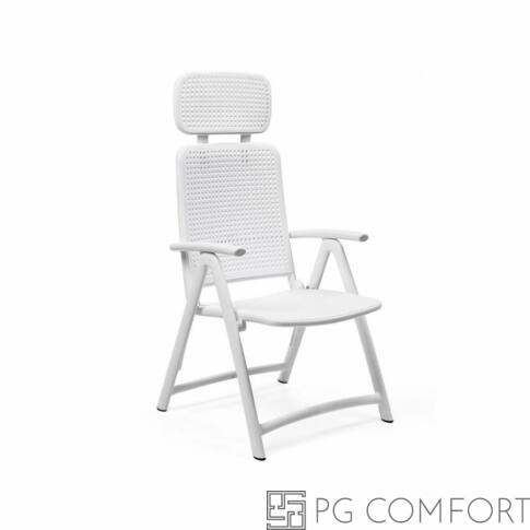 Nardi Acquamarina szék fejtámlával és karfával - Fehér színben