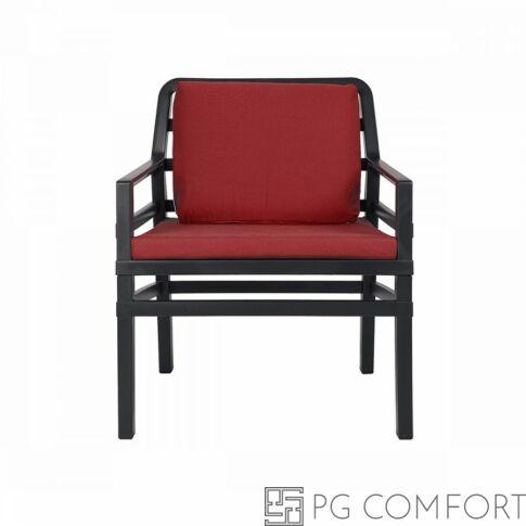 Nardi Aria  Poltrona fotel -Antracit szürke színben piros párnával