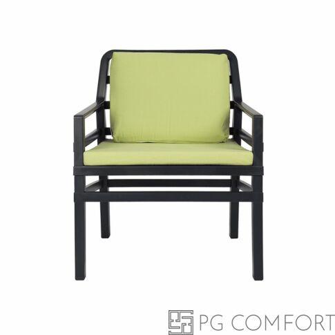 Nardi Aria  Poltrona fotel -Antracit szürke színben lime zöld párnával