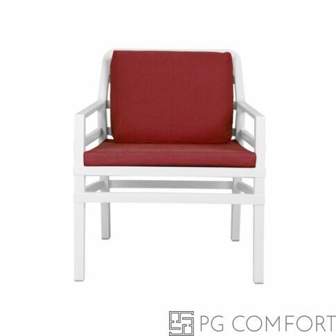 Nardi Aria  Poltrona fotel -Fehér színben piros párnával