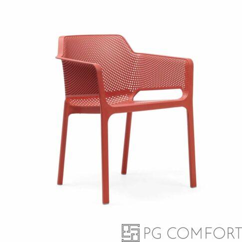 Nardi Net szék karfával - Korall piros színben
