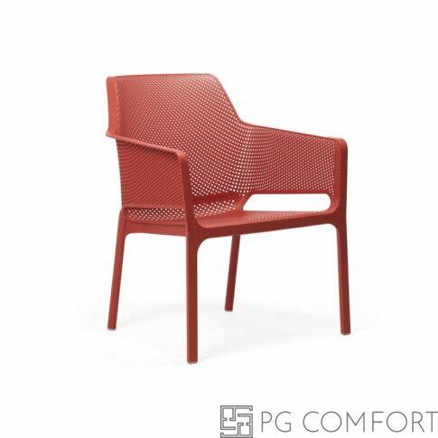 Nardi Net Relax szék karfával - Korall piros színben